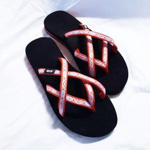 Teva Sandals 8 Isla Red Flip Flop Shoes Olowahu